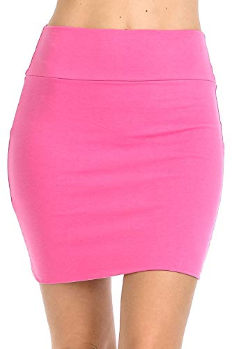 Mini Hot Skirt - Fashion Aktiv Basic Double-Layer Cotton Simple Stretchy Tube Pencil Mini Skirt (X-Large, Hot Pink)