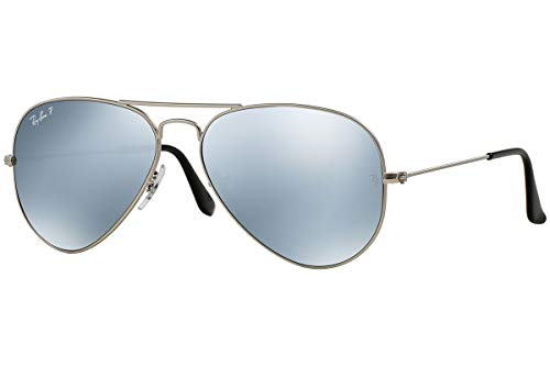 Ray-Ban Aviator RB 3025 019/W3 58mm Matte Silver Polarized Silver Mirror ()
