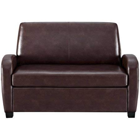 Alex's New Sofa Sleeper Black Convertible Couch loveseat Chair Leather Bed Mattress (Brown with Toss Pillow)