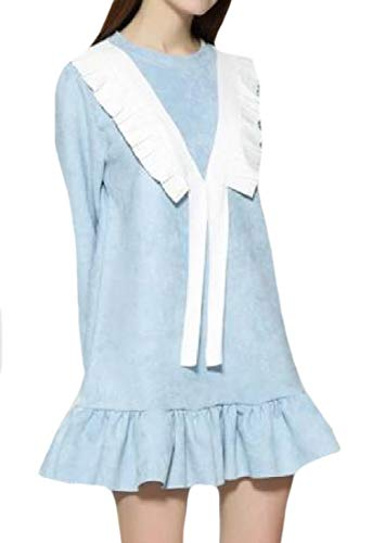 Coolred-femmes Stitch Vagues De Laine Mi Longues Cercle Complet Gris Robe Volantée