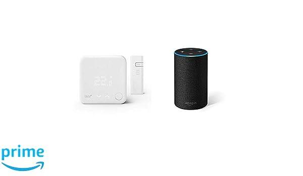 Echo gris antracita + tado° Termostato Inteligente Kit de Inicio V3+ - Control inteligente de calefacción, trabaja con Amazon Alexa, Apple HomeKit, ...