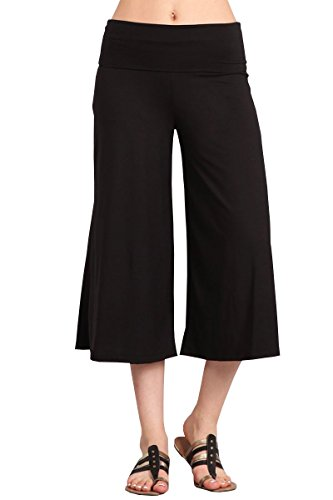 HEYHUN Women's Solid Tie Dye Wide Leg Flared Capri Boho Gaucho Pants w/Lace Detail