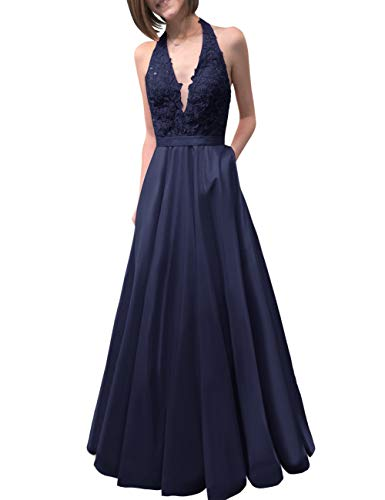 Bridal Neck Prom Evening Blue Lace Women's Dress Navy Party Backless V Deep Pockets Bess HASdqd