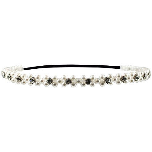 Mia Embellished Heaband, Beautiful Pearls and Rhinestones, Pretty White, For Women, Girls, Dress Up, Brides 1pc]()