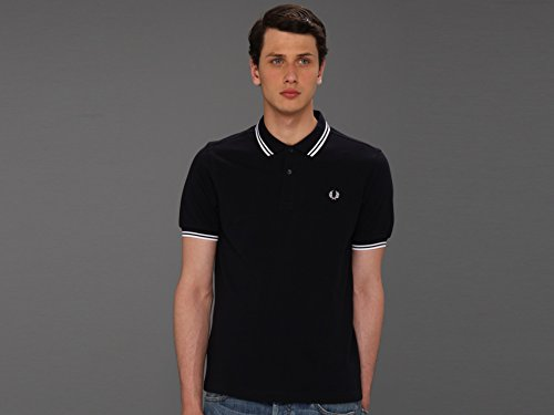 (Fred Perry Men's Twin Tipped Polo Shirt-M3600, Navy/White/White,)