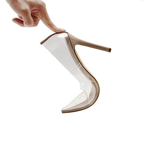 Vivi Fashion High Heel Pointed Nude Clear Pumps Heels Slip on Dress Shoes for Women