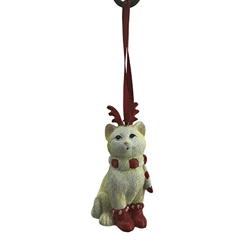 Comfy Hour Cat Wearing Scarf Reindeer Antler Headwear X'Mas Shoes Christmas Tree Ornament, Xmas Decoration, Red and Light -
