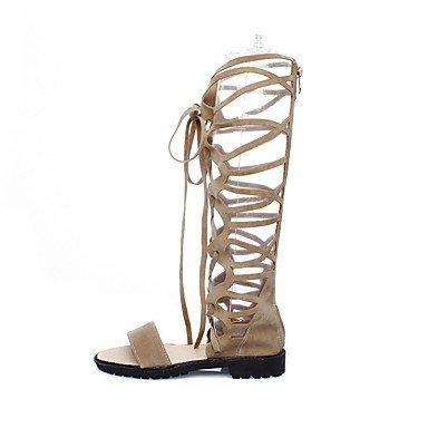 LvYuan Mujer Zapatos Semicuero Primavera Verano Cremallera Con Cordón Tacón Bajo Negro Beige Marrón Plano beige