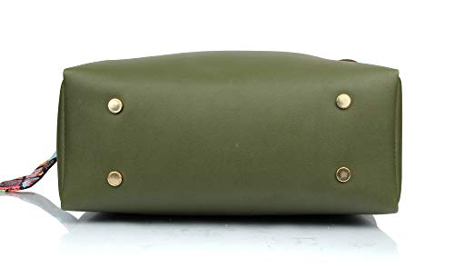 Mammon Women's PU Leather Handbag Combo (3ribn-green)