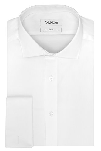 Calvin Klein Men's Non Iron Slim Fit French Cuff Dress Shirt, White, 16.5