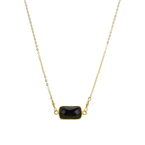 Charlene K Bar Pendant Necklace in Black Onyx and Gold Vermeil ()