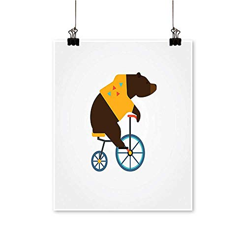 Hanging Painting Teddy Bear Circus Rid Trendy Hipster Costume Image Brown Yellow Rich in Color,20