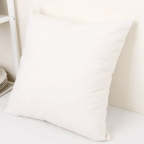 TAOSON Decorative 100% Cotton Canvas Square Solid Toss Pillowcase Cushion Cover Pillow Case with Hidden Zipper Closure Only Cover No Insert - White 18