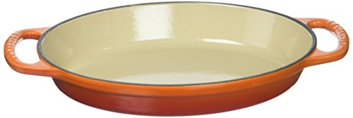 Le Creuset Enamel Cast Iron Signature Oval Baker, 1 quart, Flame