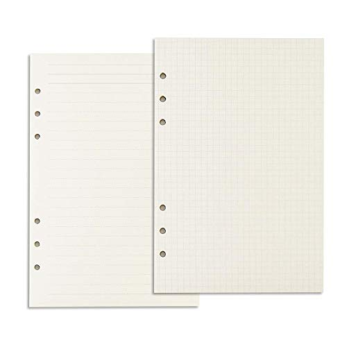 Refill Lined Paper, Leather Journal Refills Lined, 6-Holes Inserts 90 Sheets for A6 Refillable Journals Notebooks, Square Grid and Ruled Mixed