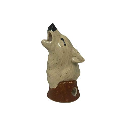 Mom's Majestics Majestic Wolf Bust Cone Incense Burner, Gifts & Decor (Detail Grey)