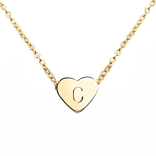 MignonandMignon Gold Heart Necklace Initial Necklace Bridesmaid Gift Graduation Gift for Her (C) - FHN