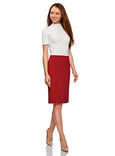 oodji Collection Mujer Falda Recta de Tiro Alto Rojo (4500N)