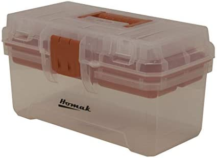 Homak 15-1 2-Inch Plastic Transparent Toolbox with Tray, TP00115088