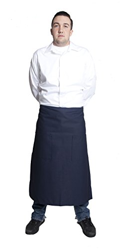 Fiumara Apparel Full Bistro Apron with 2 Pockets Poly Cotton - Navy | 32 Inches L X 28 Inches W | by Fiumara Apparel