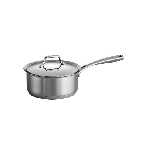 DS Gourmet Prima Stainless Steel, Induction-Ready, Impact Bonded, Tri-Ply Base Covered Sauce Pan, 3 Quart, Made in Brazil ()