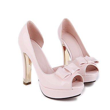 Talones de las mujeres Primavera Verano Otoño Club de los zapatos de la PU de oficina y carrera del partido y vestido de noche tacón grueso del Bowknot Negro Rosa Beige Pink