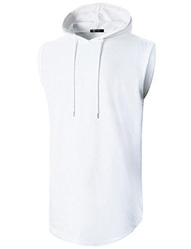 (GIVON Mens Hipster Simple Longline Lightweight Pullover Sleeveless Hooded Shirt/DCF042-WHITE-S)