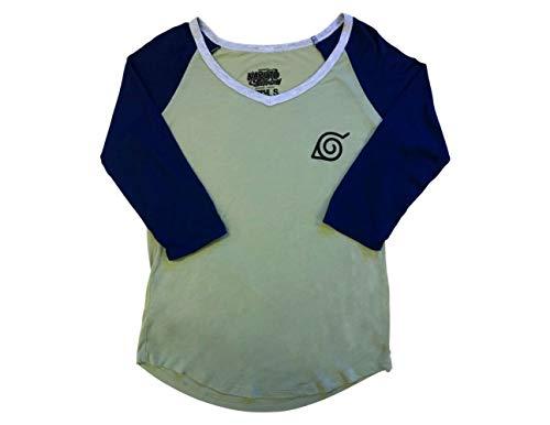 (Ripple Junction Naruto - Shippuden Junior Kakashi Symbols Light Weight V-Neck 3/4 Sleeve Baseball Raglan LG Green/Navy)
