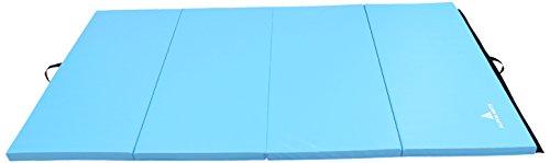 Alpha Mats Folding Gymnastics and Exercise Mat, PU Material & EPE Foam, Perfect for Aerobics, Yoga, Martial Arts, Light Blue, 4'x10'x2'
