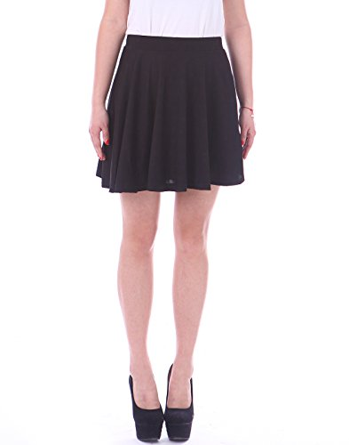 [HDE Women's Jersey Knit Flare A Line Pleated Circle Skater Skirt (Black, X-Large)] (Daria Costume)