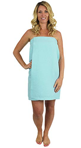 Indulge Linen Spa Waffle Body Wrap for Women with Adjustable Closure (One Size, Light Turquoise)