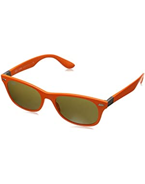 Unisex Adult Liteforce Rounded Wayfarer Sunglasses in Matte Orange RB4207 609773 52