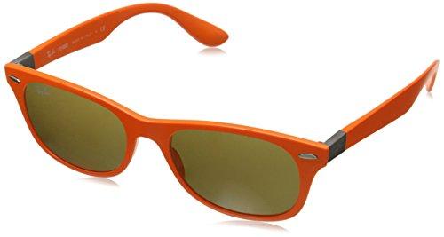 Ray-Ban INJECTED MAN SUNGLASS - MATTE ORANGE Frame DARK BROWN Lenses 52mm - Bans Frame Ray Orange