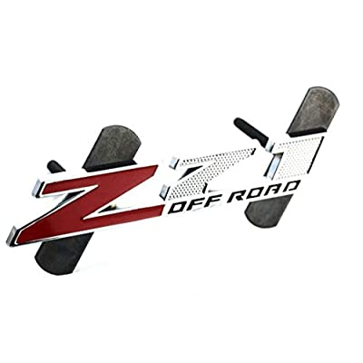 5 Inch Red Grille Z71 Off Road Emblem Badge for Gm Silverado 2500hd 3500hd Sierra Tahoe Chrome (Red/Black): Automotive