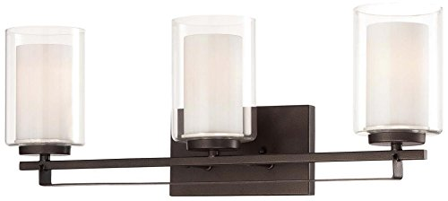 - Minka Lavery Wall Light Fixtures 6103-172 Parsons Studio Glass Bath Vanity Lighting, 3 Light, Smoked Iron