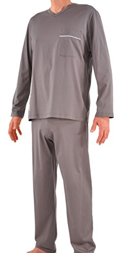 - Ultrafine Italian Filo di Scozia Cotton Long Pajamas - Large/Grey