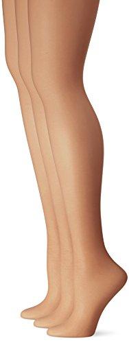 L'eggs Women's Silken 3 Pack Control Top Sheer Toe Panty Hose, Black Mist, B