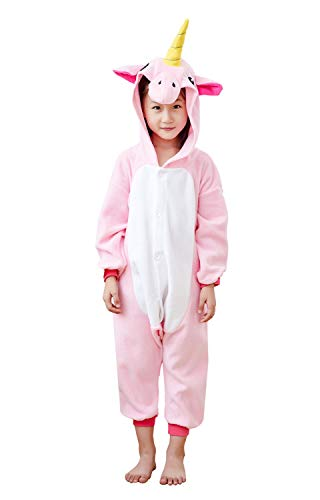 Comfy New Unicorn Animal Onesie Kids Unisex Halloween Cosplay Pajamas One-Piece Birthday Gifts Pink 8-10 Years ()