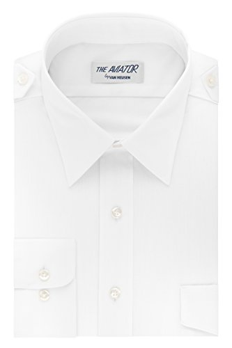 Van Heusen Men's Pilot Dress Shirt Long Sleeve Aviator, White, 14.5