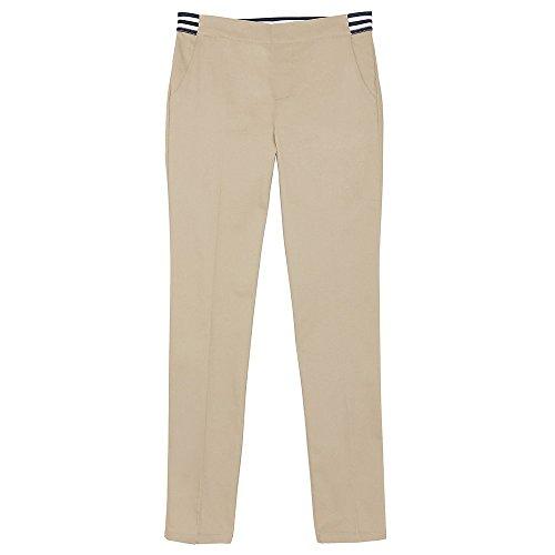 Girls School Uniform Pant - French Toast Girls' Big Stretch Contrast Elastic Waist Pull-on Pant, Khaki, 10