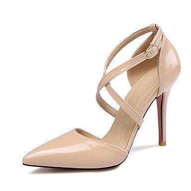 Talones de las mujeres Spring Club zapatos de la comodidad de cuero oficina y carrera banquete de boda y vestido de noche de tacón de aguja del Bowknot Amarillo Rosa Blanco Yellow