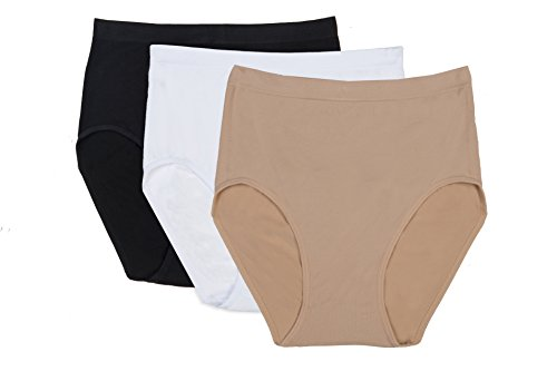 RUFINA #214 - Pack of 3 - Women's Seamless Full Brief Panties, Soft Tummy Control and Butt Lifter