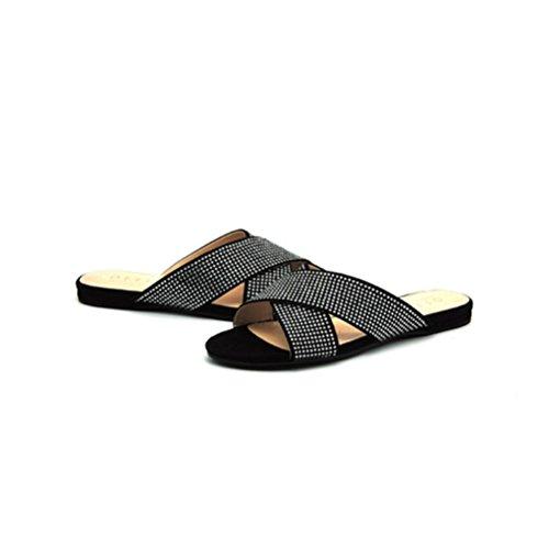 Les Plates Chaussures Strass Sandales Black Dames Talons Plats Xie Confortables Avec Croisées À Romaines De SU7w8Zqgq