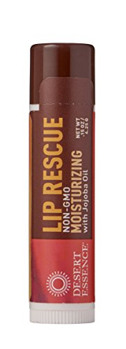 Desert Essence Lip Rescue Moisturizing with Jojoba Oil - 0.15 oz - 2 Pack - Softens, Smooths, Hydrates Lips - Relieves Dry, Cracked Lips - w/Aloe Vera, Vitamin E - Gluten-Free, Cruelty-Free Balm