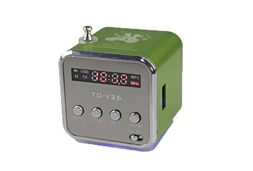 TD-V26 Speaker with FM Radio, Auxiliary In, and Micro USB Card Slot (Green)