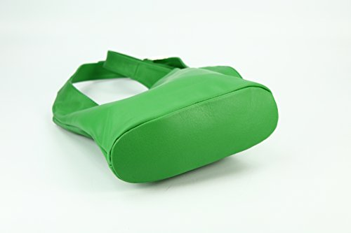 Belli® Womens Italiano vera pelle nappa borsa a tracolla borsa Cross Over, Verde Mela, 24x 28x 8cm (L x A x P)