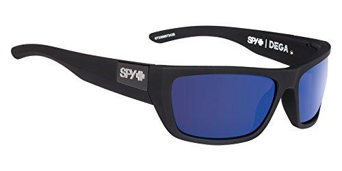 Spy Optic Dega Polarized Shield Sunglasses, Soft Matte Black/Happy Bronze Polar/Dark Blue Spectra, 1.5 (Dark Bronze Sunglasses)