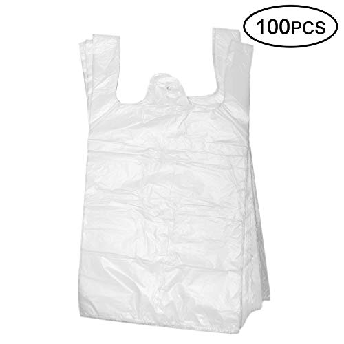 Plastic T Shirt Bags, Shopping Bags, Merchandise Bags,Plain Grocery Bags, kitchen trash bags, Reusable Grocery Plastic Bags 100 Count by Topgalaxy.Z