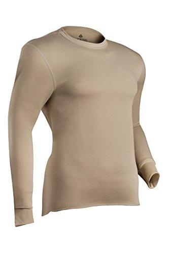 Indera Men's Military Weight Fleeced Polyester Thermal Underwear Top, Sand, Medium