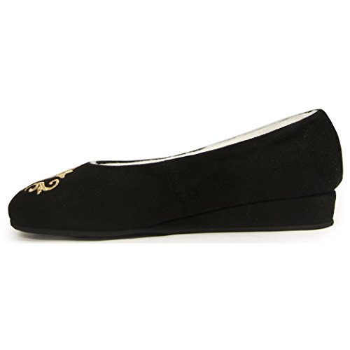 Jacques Levine - Bel Esprit Wedge - Emroidered Shearling-lined Women's Slipper, 9 (B) Black by Jacques Levine